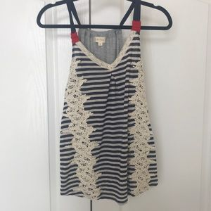 Alter'D State NWT Adorable Navy/Cream/Red Top S